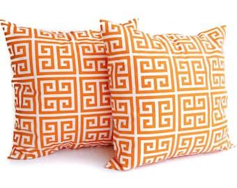 "Orange pillow covers set of two 16"" x 16"" Orange Greek Key pillow cover set"