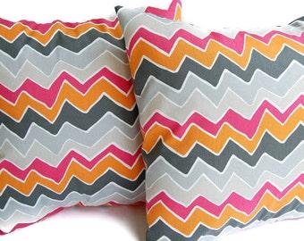 Throw pillow covers pair of two Seesaw chevron pink orange gray tan