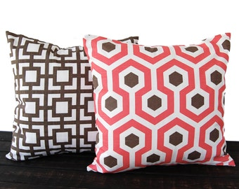 throw pillow covers pair cushion covers bittersweet coral italian brown white pillow cases magna and gigi
