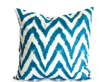 Teal blue pillow cover One cushion cover turquoise teal throw pillow Diva chevron zig zag
