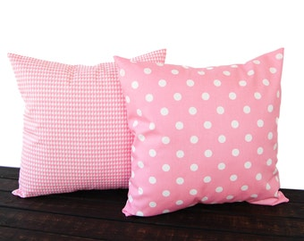 Throw pillow covers Pair of Two baby pink cushion cover pillow shams Houndstooth and Polka Dots nursery decor