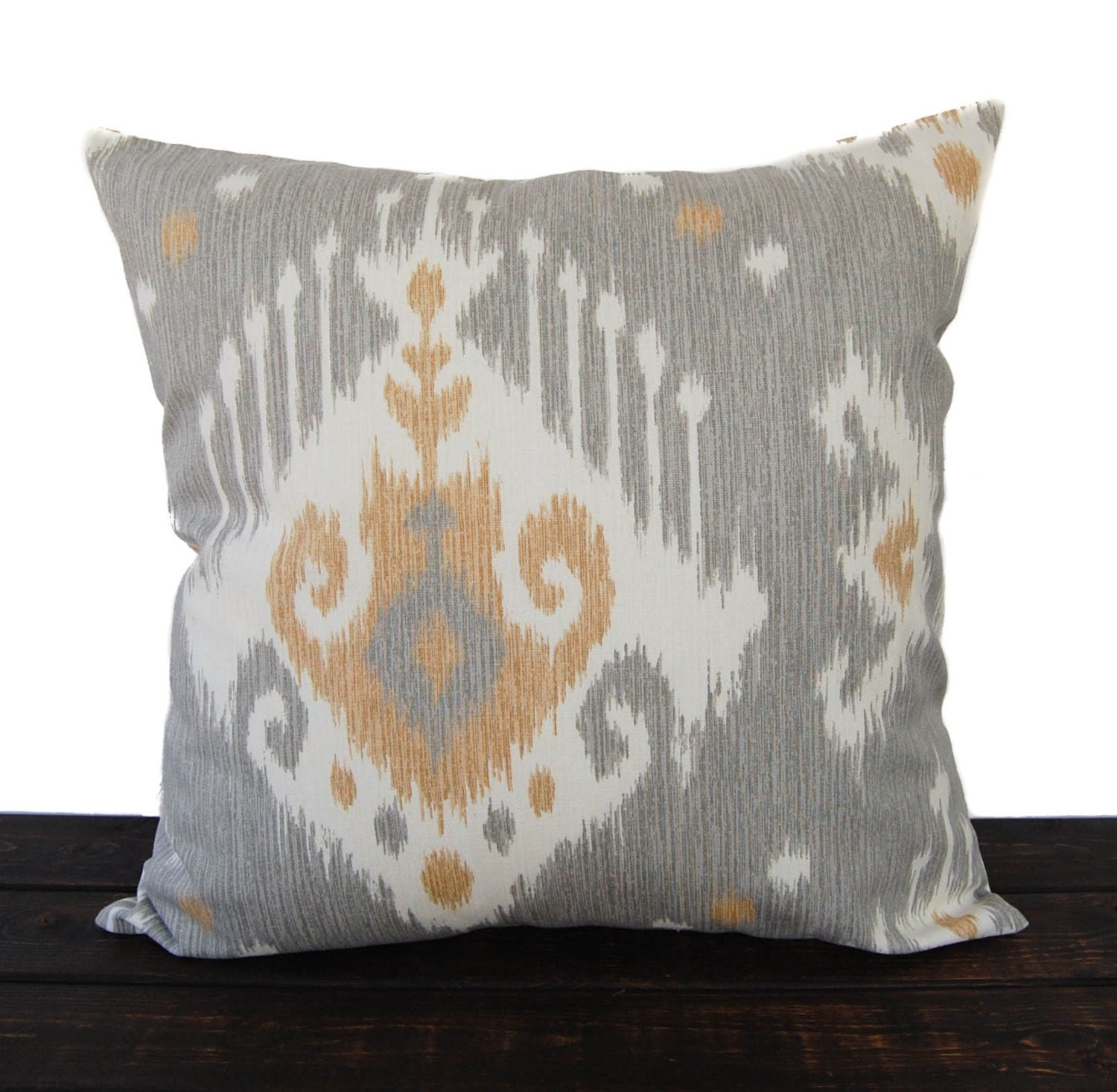 Gray Throw Pillow Covers : Throw piillow cover gray cushion cover Ikat pillow case tan