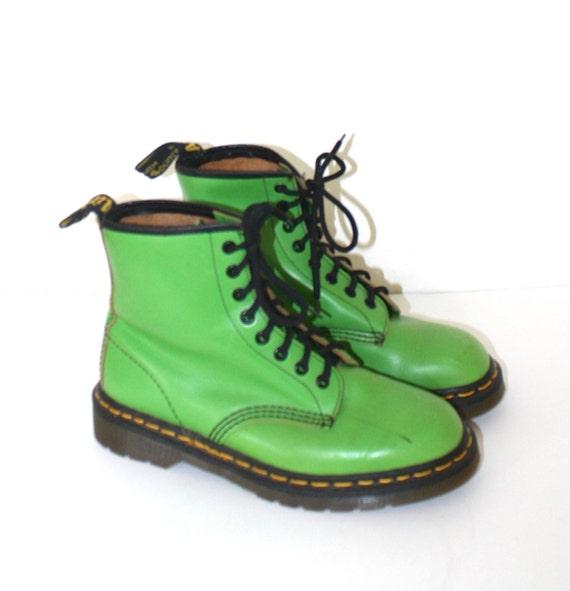 Vintage Dr Martens Boots 90s Rare Lime Green Doc Martens