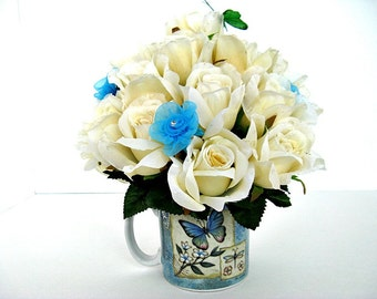 Special Occasion gift mug/ Blue butterfly floral arrangement/ Anniversary celebration/ Mother's Day gift/ Retirement gift mug (GN97)