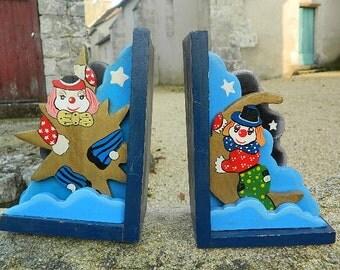 """Vintage french 1960 """" Serre-livre clown en bois pour enfant"""""""