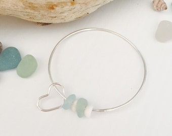 Puka Shell with Beach Glass Sterling Silver Bangle