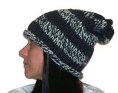 Slouch Hat, Winter Hat, Grey, White