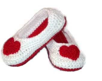 Toddler Slippers, Heart Slippers, White Slipper, Red Heart, Valentines Day