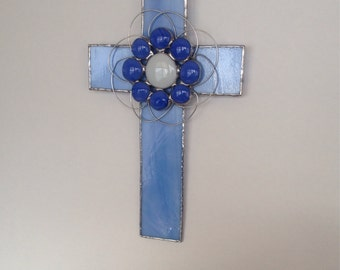 Stained Glass Cross Blue