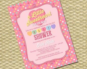 Valentine Baby Shower Invitation 1st Birthday Invitation ANY EVENT Any Colors Retro Candy Hearts Conversation Hearts Little Sweetheart
