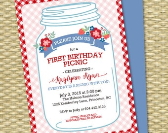 First Birthday Picnic Invitation Rustic Mason Jar Strawberry Picnic Couples Shower Picnic Invitation Everyday is a picnic, ANY EVENT