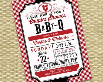 Gender Neutral BabyQ Invitation Couples Baby Shower BBQ Baby Shower Barbecue Country Western Style, ANY COLOR, Any Event