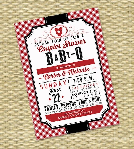 Couples Bbq Baby Shower: Gender Neutral BabyQ Invitation Couples Baby Shower BBQ Baby