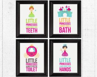 Little princesses bathroom rules, bathroom rules kids, kids bathroom decor, princesses nursery decor, princesses art prints, A-4008