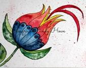 Digital art, digital download, flower, blue and red flower, floral, flowers,  flowers, fantasy flower