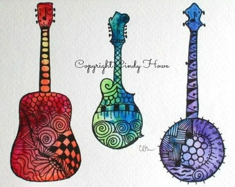 Digital art, Banjo, guitar, mandolin, musical, instruments, acoustic instrument, bluegrass art, digital download