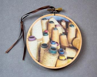 Hoop Art, Photograph on Fabric, Craft Room Decor, Craft Art, Handmade Textile Art, Spools of Thread, Yellow, Urban Decay, Abandoned Urb