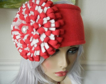 Red Fleece Headband Giant Fleece Flower Ski Cap Earwarmer Fleece Accessories Conversation Starter Serious Fleece Fashion