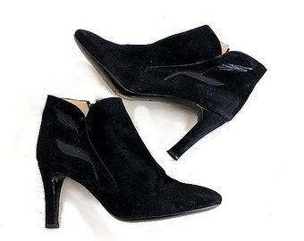 vintage HEELS  ANKLE BOOTS  us6  black suede leather colombo  made in italy