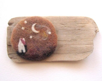 needle felt pin, moon and stars brooch, Scottish art, needle felt jewelry, wearable art