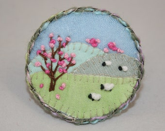 Embroidered Applique Spring Landscape Brooch - sheep and blossom stitched by Lynwoodcrafts
