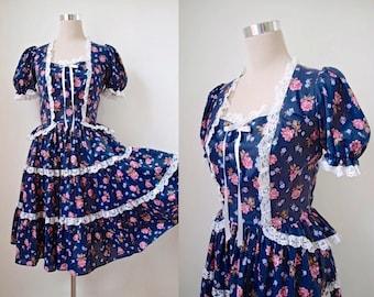 Square Dance 1970's Dress - Vintage 70's Dress - Square Dance Fashions - Prairie / Peasant / Swing Dress