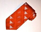 Longhorns Necktie, Texas Longhorns Tie, Orange Tie, Vintage Necktie, Men's Tie, University of Texas Tie
