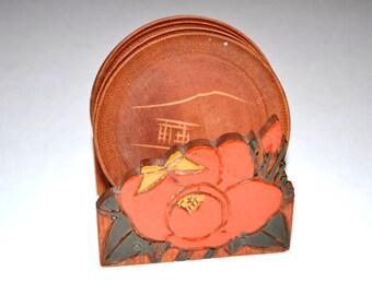 Vintage Coasters, Set of 5 Vintage Coasters, Wooden Coasters Made in Japan, Coaster Set, Wood Coasters, Handmade Coasters