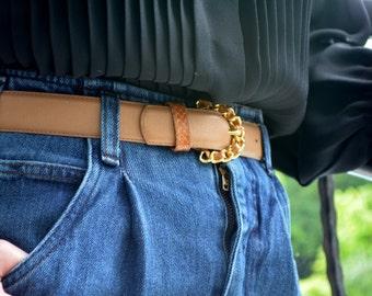 Women's Tan Belt, Size Medium, Leather Vintage Belt, Ladies' Belt, Beige Belt, Light Brown Belt, Snakeskin Belt