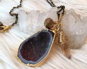 marsala druzy pendant | cluster necklace | wrapped champagne crystal | druzy jewelry | drusy jewelry gold jewelry | upcycled jewelry