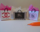 S-6  Miniature Shopping Bags set of 3   for Barbie and dollhouse collectors