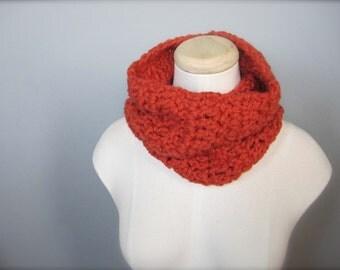 Crochet Mini Cowl, Scarf, Neck Warmer, Pumpkin Orange, Halloween, Autumn Scarf