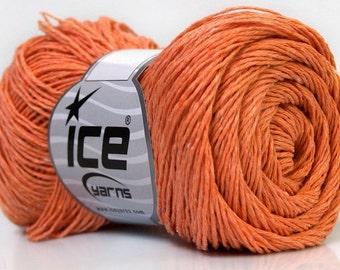 Natural linen cotton yarn, Orange summer superfine yarn, Baby, Sport yarn