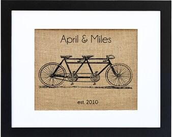 Tandem Bicycle Monogram, Burlap Art, Bicycle Monogram, Burlap Monogram, Frame Included