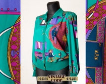 Abstract Steampunk 80s jacket blouse / Teal Violet elastic vaist shirt / Rober Janan Button Up Cardigan / Size Medium to Large