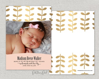 Photo birth announcement.  Brushed gold leaves.  Modern birth announcement.  Customize. Printable