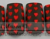 Tiny Red Hearts Instant Acrylic Nail Set