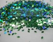Holographic Leaf Green 1 mm Diamond Shaped Glitter