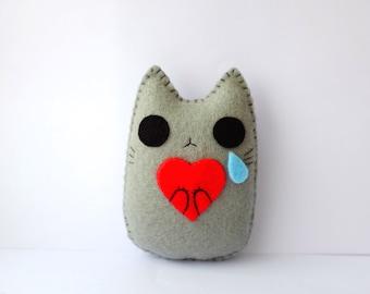 I cry for Love cute cat handmade plush doll