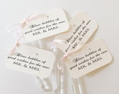 Bubble Wands with Custom Favor Tags with ribbon and crystals for Wedding Send Off Ceremony Reception Guest Favors