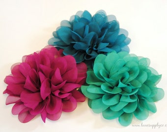 "Jewel Tones - Set of 3 - Fabric Flower Heads - NEW 3.5"" Mum Flowers - DIY crafting supplies - You choose the colors!"