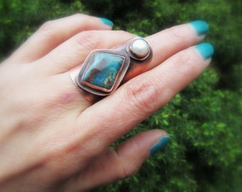 Blue Peruvian Opal Ring Freshwater Pearl Gemstone Cocktail Statement Armor Shield Mineral Stone Metalsmith Copper Jewelry