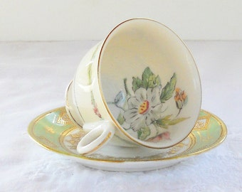 Elegant Green and Gold Demitasse Mismatched Tea Cup and Saucer, Vintage, Cottage Style, Victorian, Shabby Chic