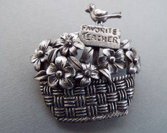 silver tone Favorite  Teacher brooch pin basket flowers bird fashion budget teacher gift