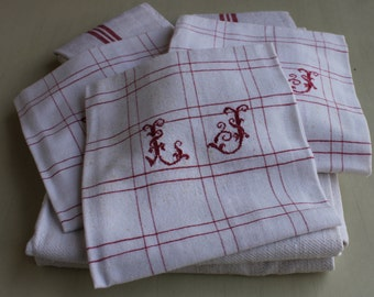 Set of Three French kitchen towels, tea towels, torchon red plaid with initials