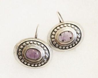 Vintage Sterling Silver Amethyst Earrings, February Birthstone