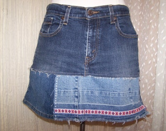 Hag Rags...Upcycled Denim Hippie skirt....Levi.....size 8....