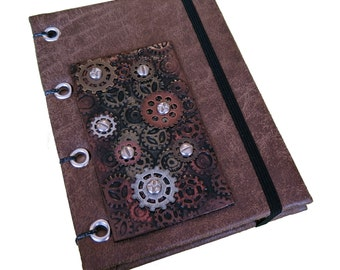 Steampunk Gears Coptic Journal/Sketchbook/ Memory Keeper