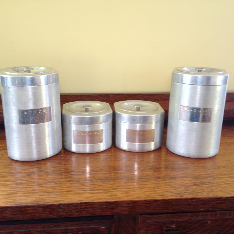 Vintage aluminum kitchen canister set of 4 for Kitchen set aluminium