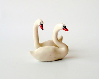 Porcelain Swans, a Pair, Miniature White Swans, Set of Two, Wedding Cake Topper, Ceramic Sculpture by Eyal Binyamini, studiolind
